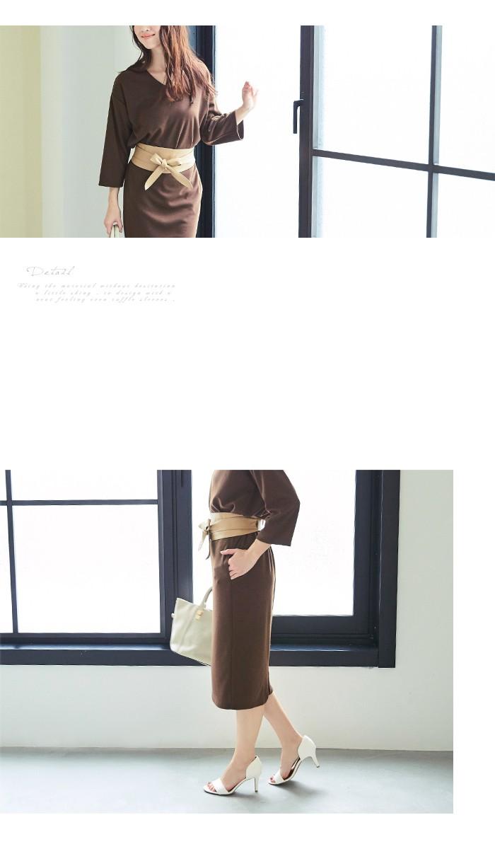 Vネックトップス×スカートセットアップ