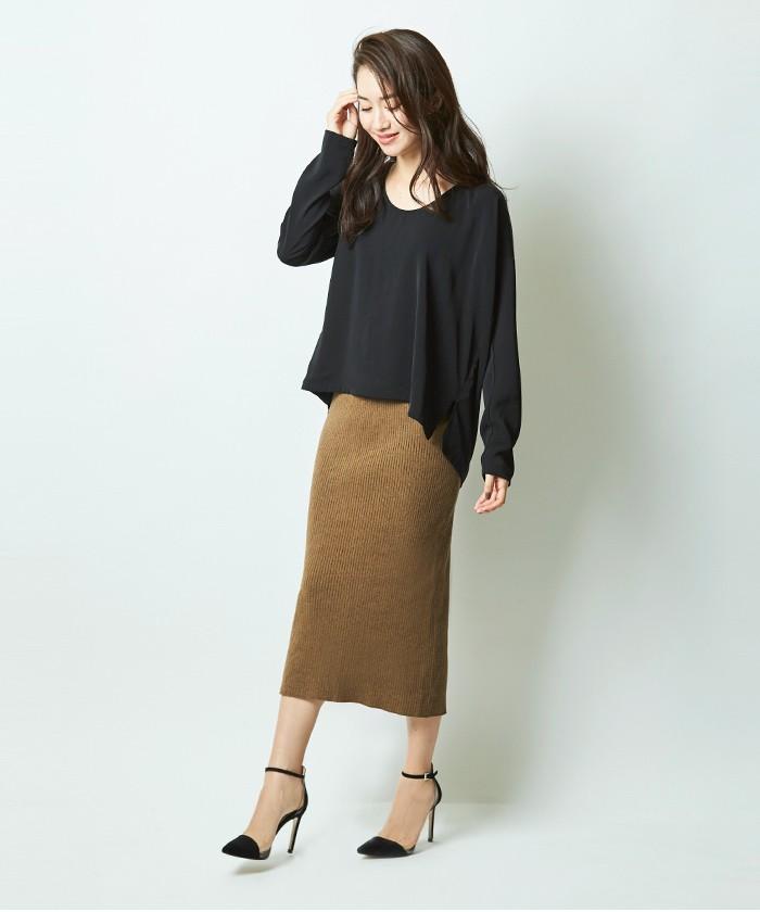 リブIラインミディスカート1
