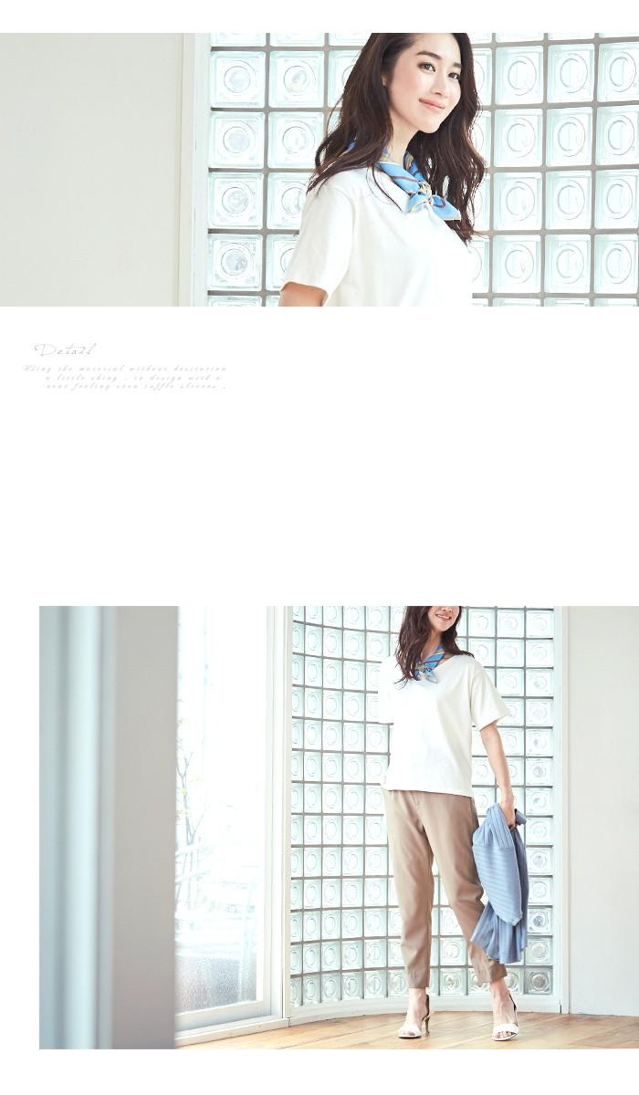 スカーフ付ドレープヘムTシャツ2