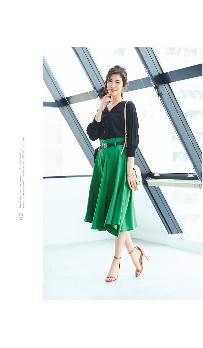 ベルト付サイドドレープフレアスカート6