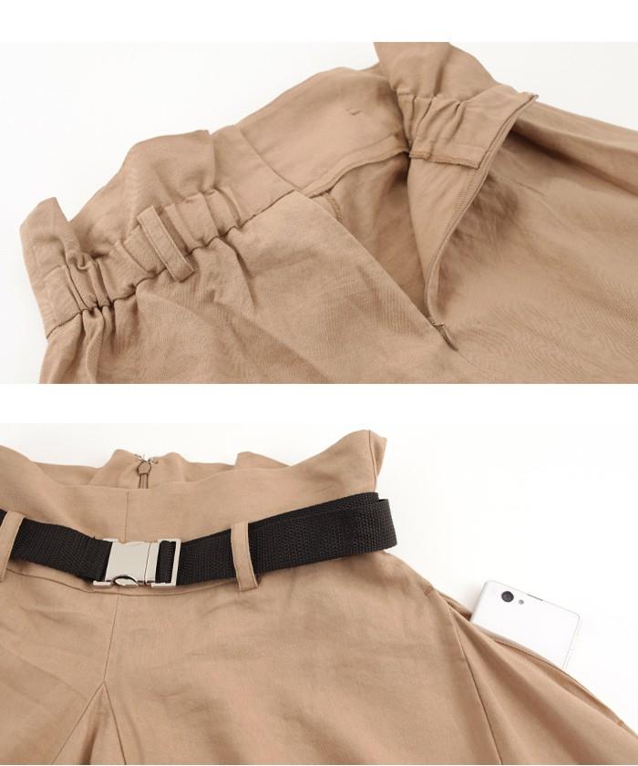 ベルト付サイドドレープフレアスカート15