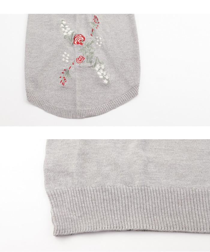 フレアスリーブフラワー刺繍プルオーバー15