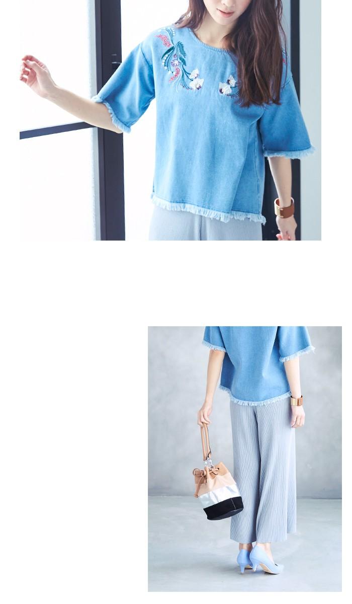 フラワー刺繍フリンジブラウス3