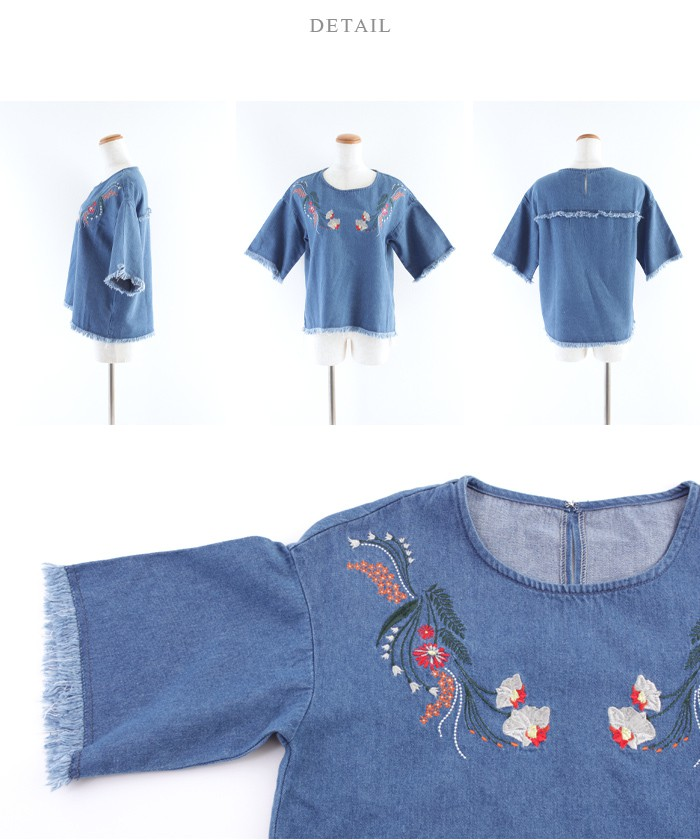 フラワー刺繍フリンジブラウス14