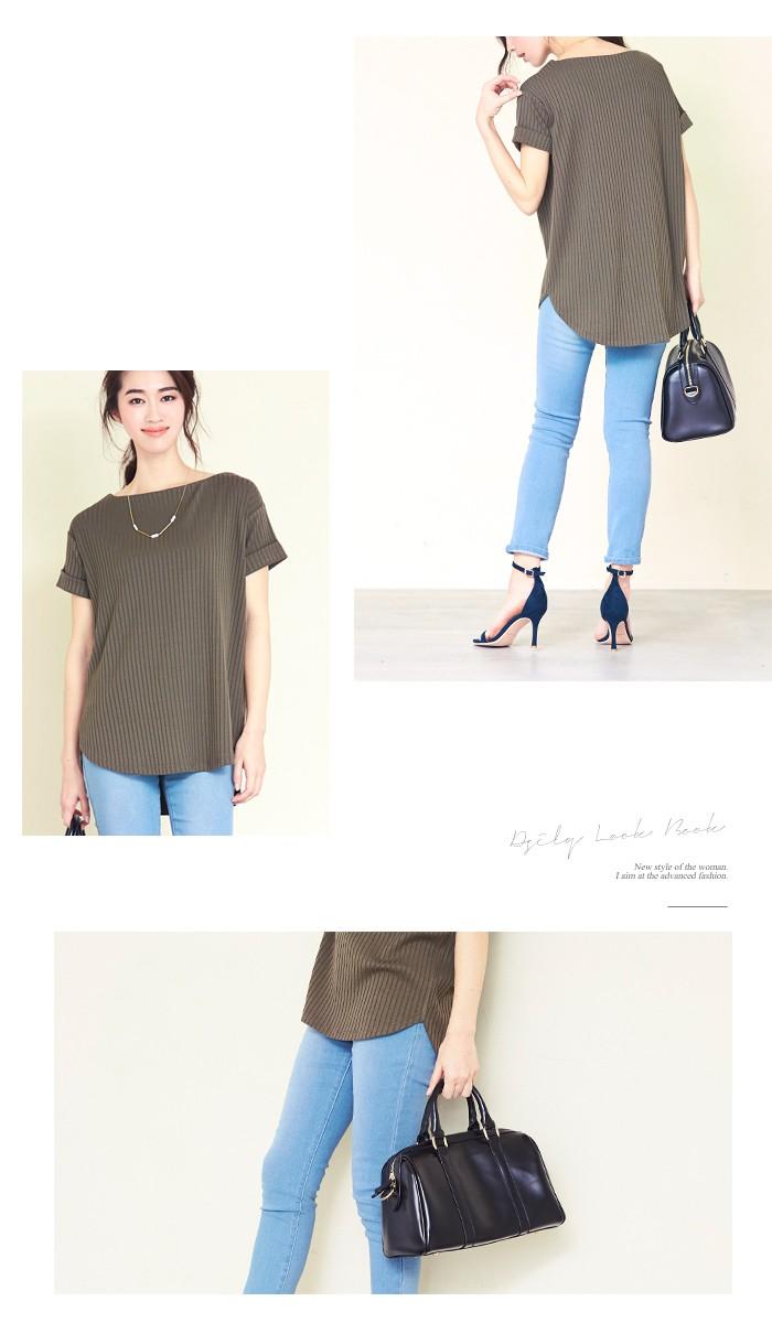 リブボートネックTシャツ2