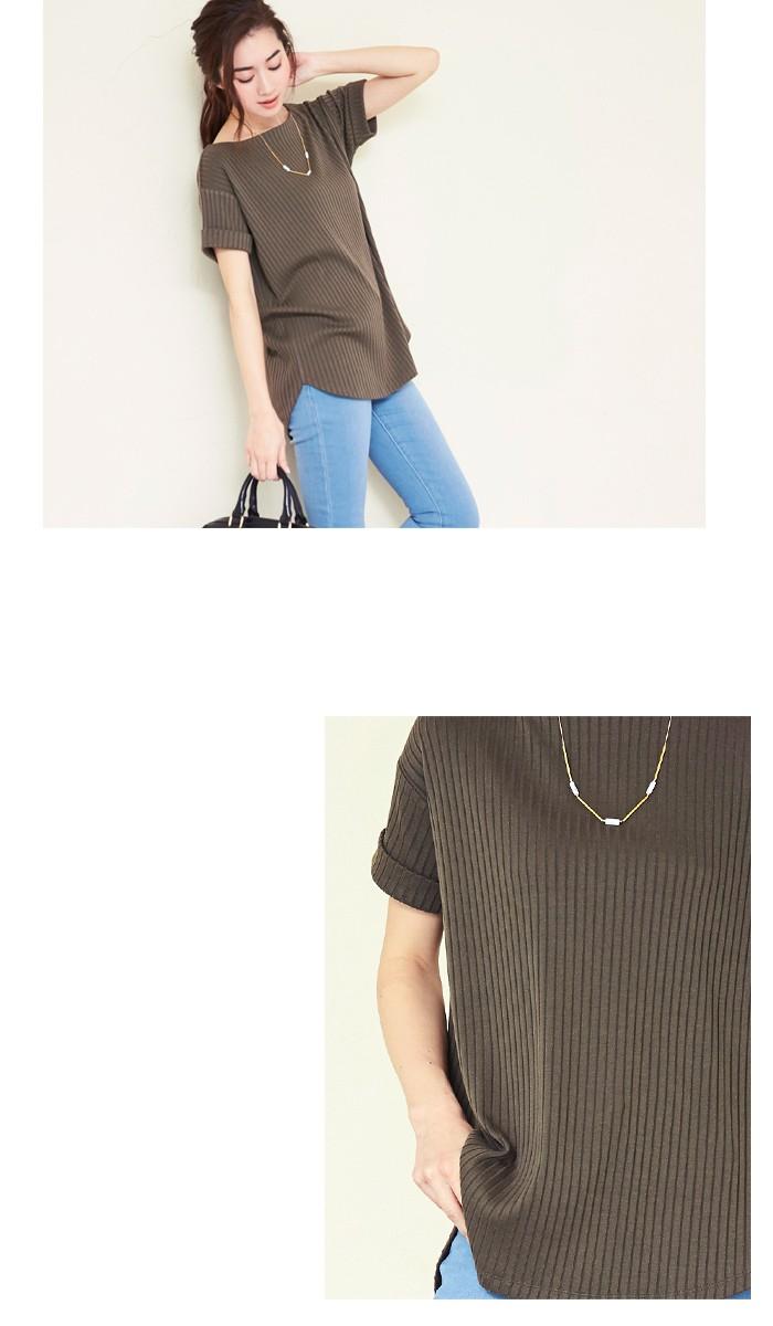 リブボートネックTシャツ3
