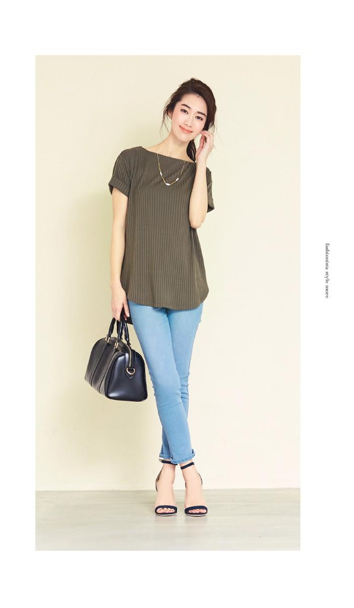 リブボートネックTシャツ4