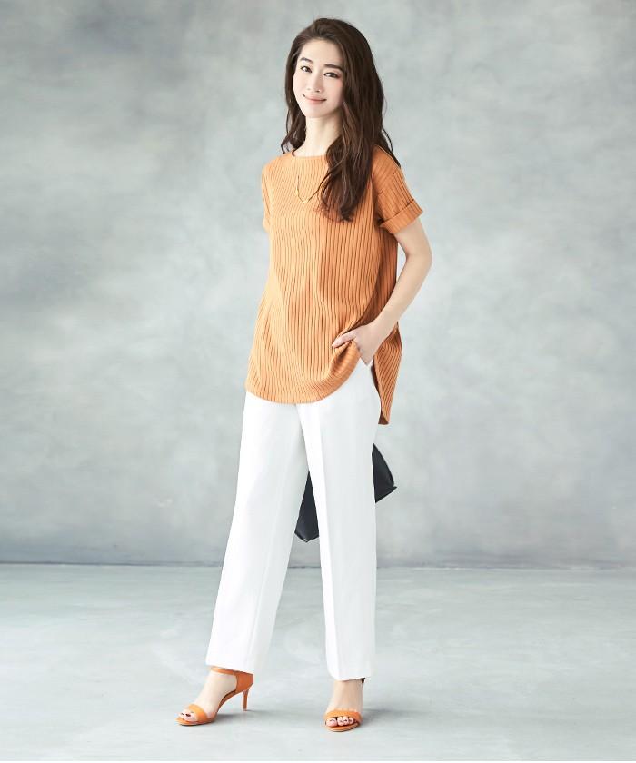 リブボートネックTシャツ1