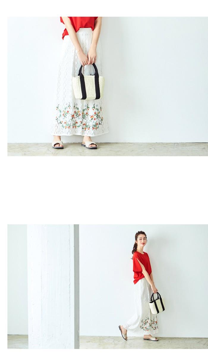 フラワー刺繍イージーワイドパンツ7