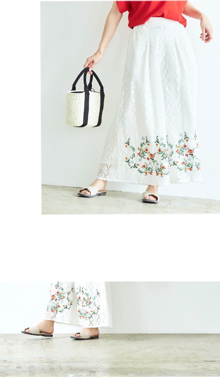 フラワー刺繍イージーワイドパンツ8