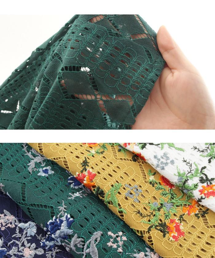 フラワー刺繍イージーワイドパンツ16