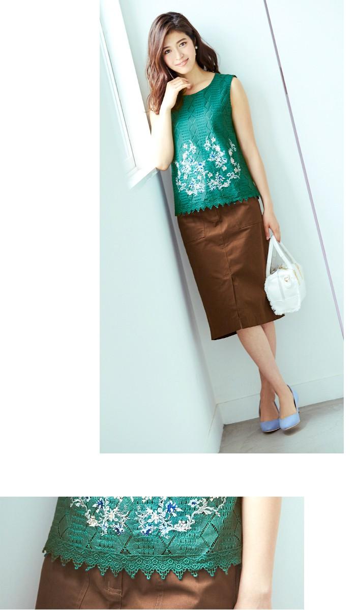 フラワー刺繍ノースリーブブラウス6