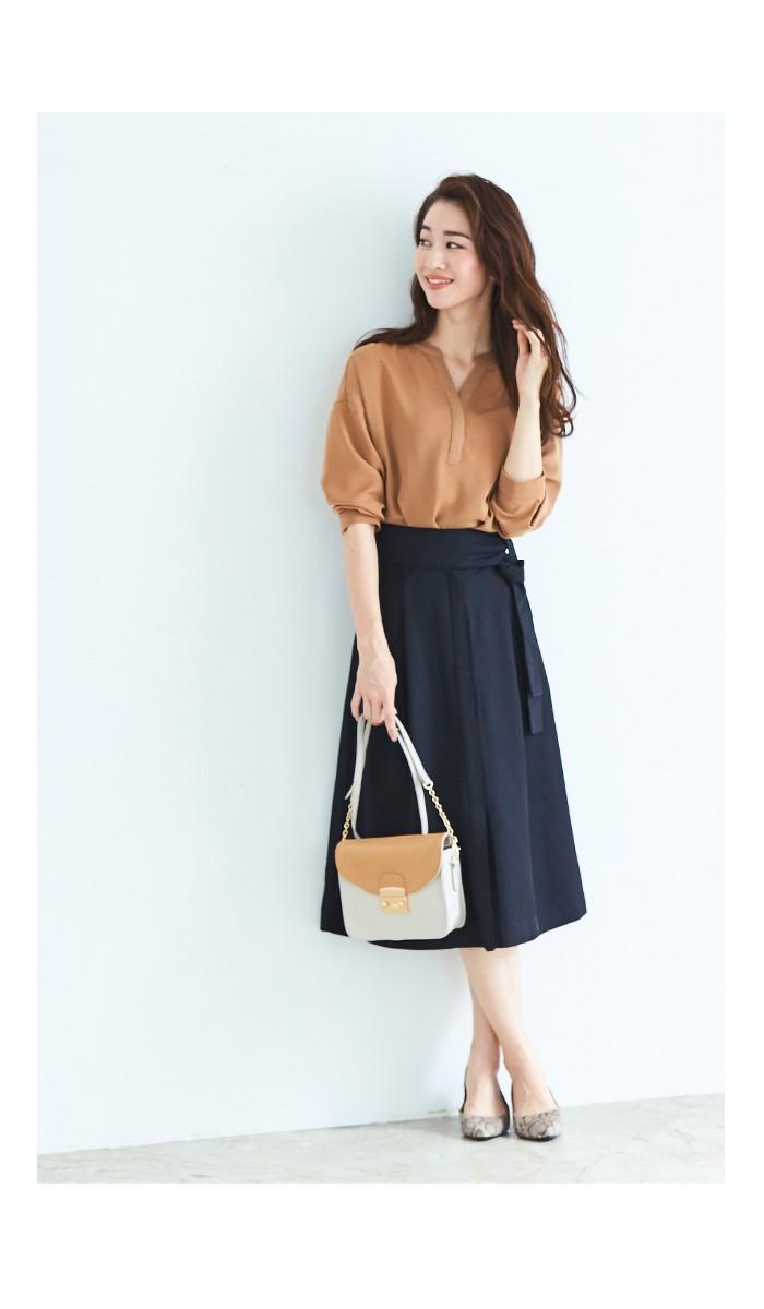 ウエストリボンAラインスカート3