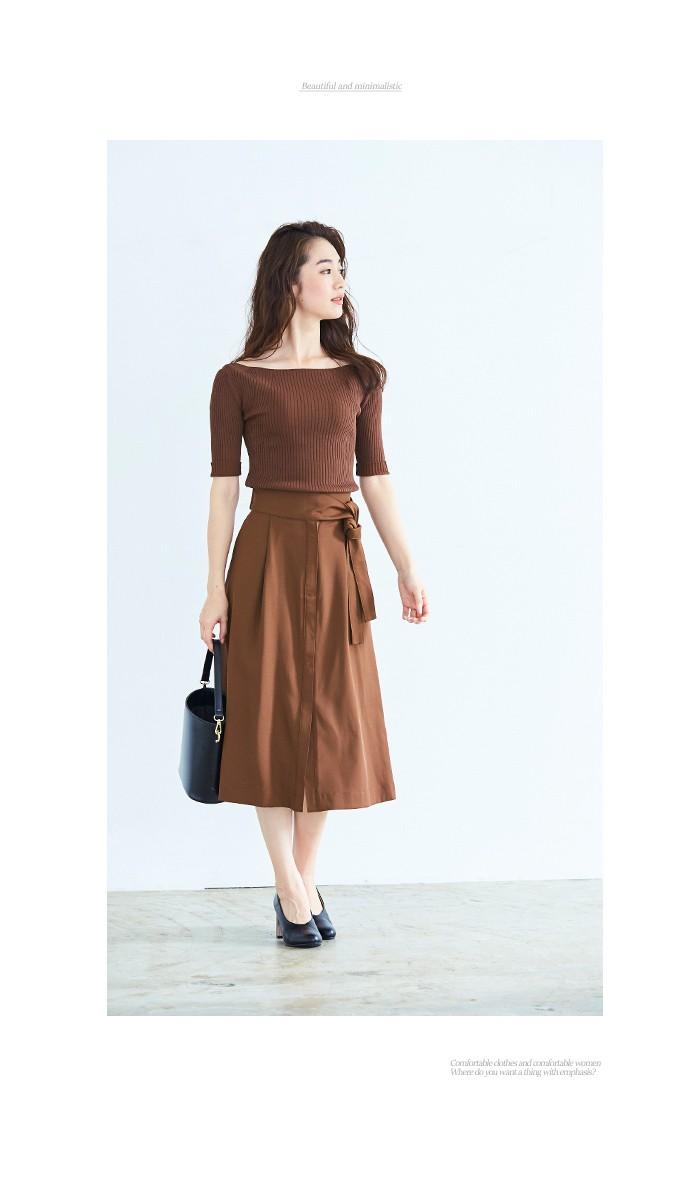 ウエストリボンAラインスカート6