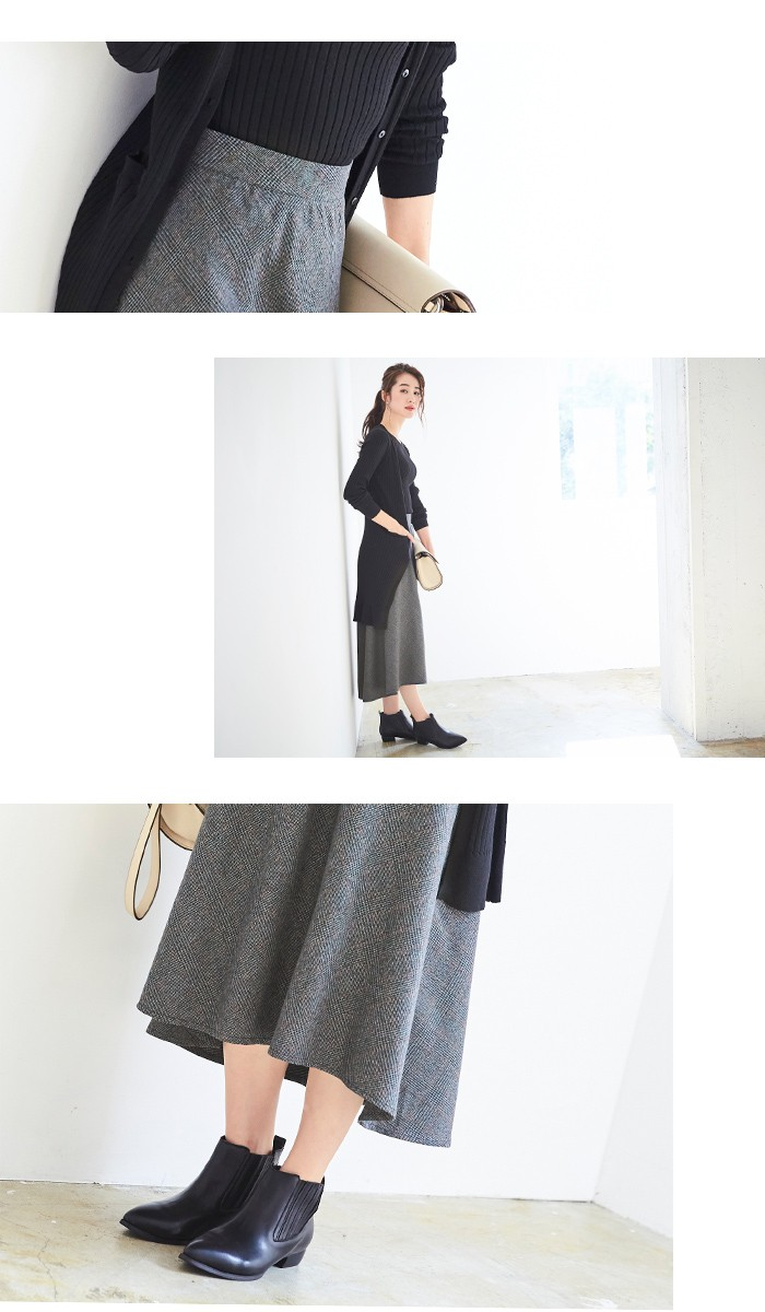 チェック柄ヘムラインフレアスカート5