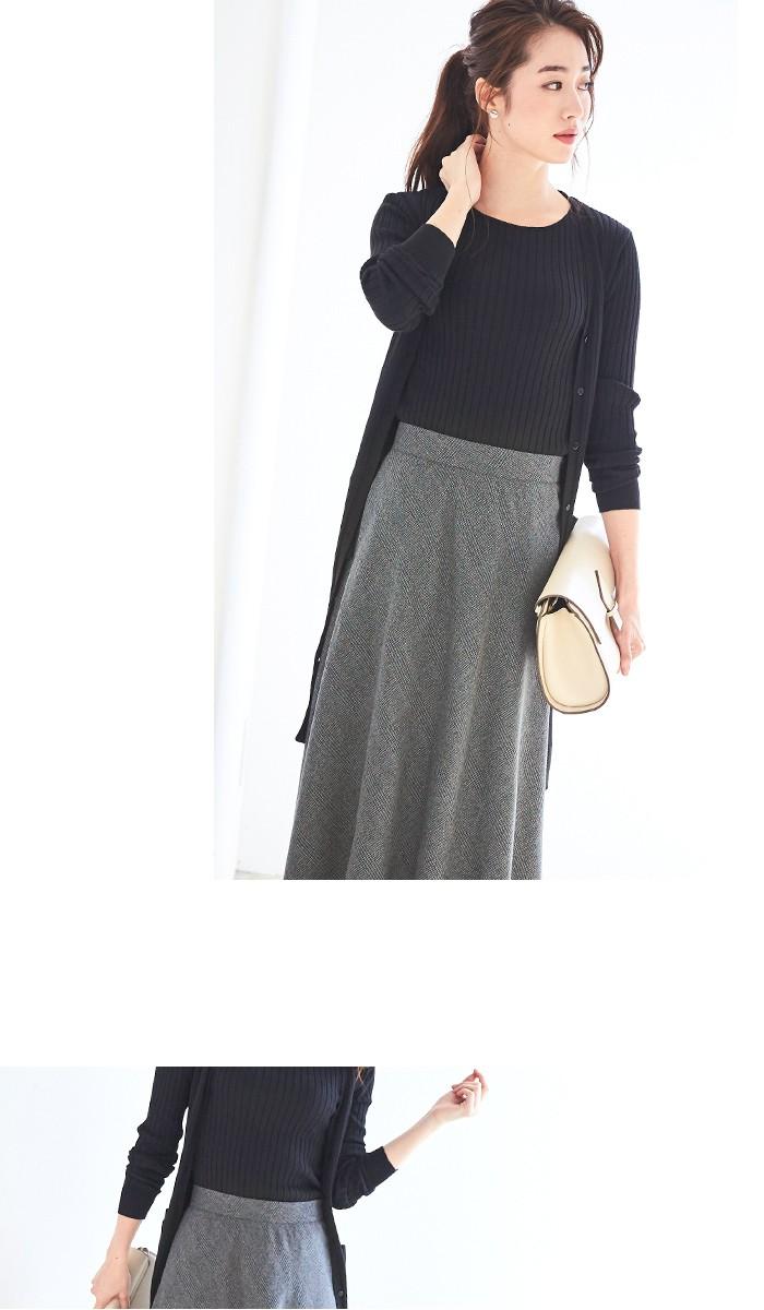 チェック柄ヘムラインフレアスカート6