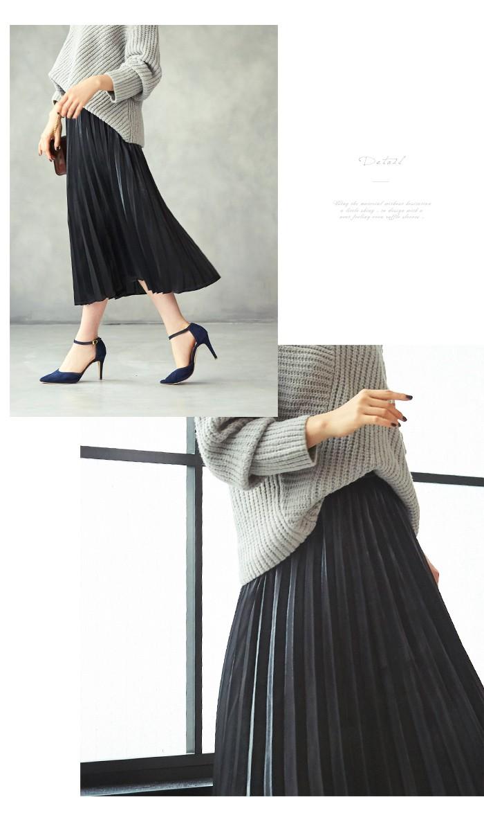 フィラメントサテンミディアムプリーツスカート2