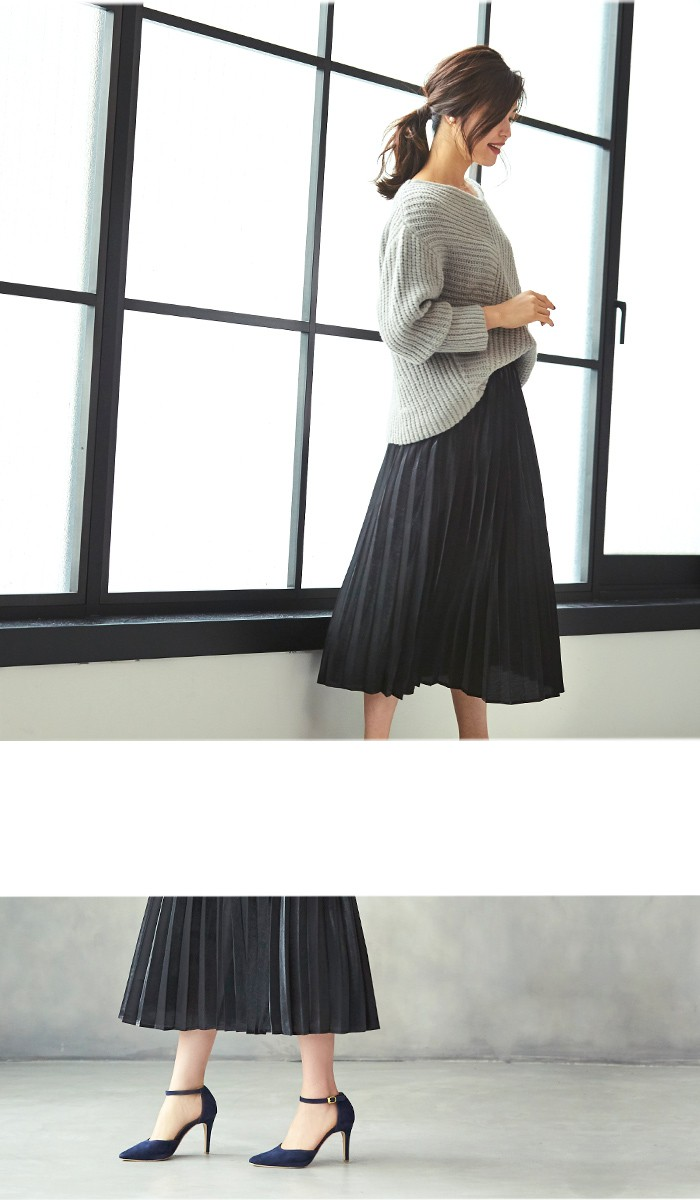 フィラメントサテンミディアムプリーツスカート7