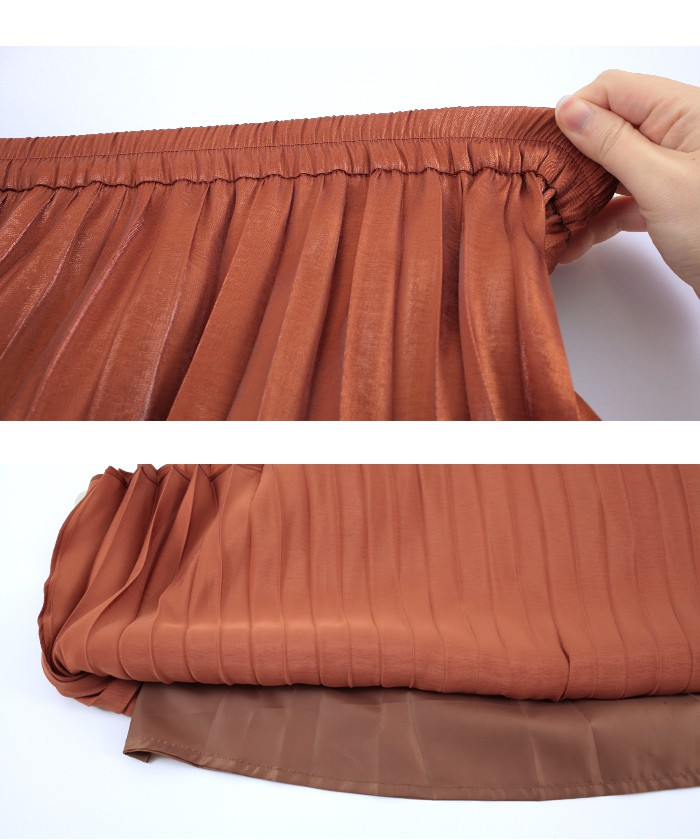 フィラメントサテンミディアムプリーツスカート15