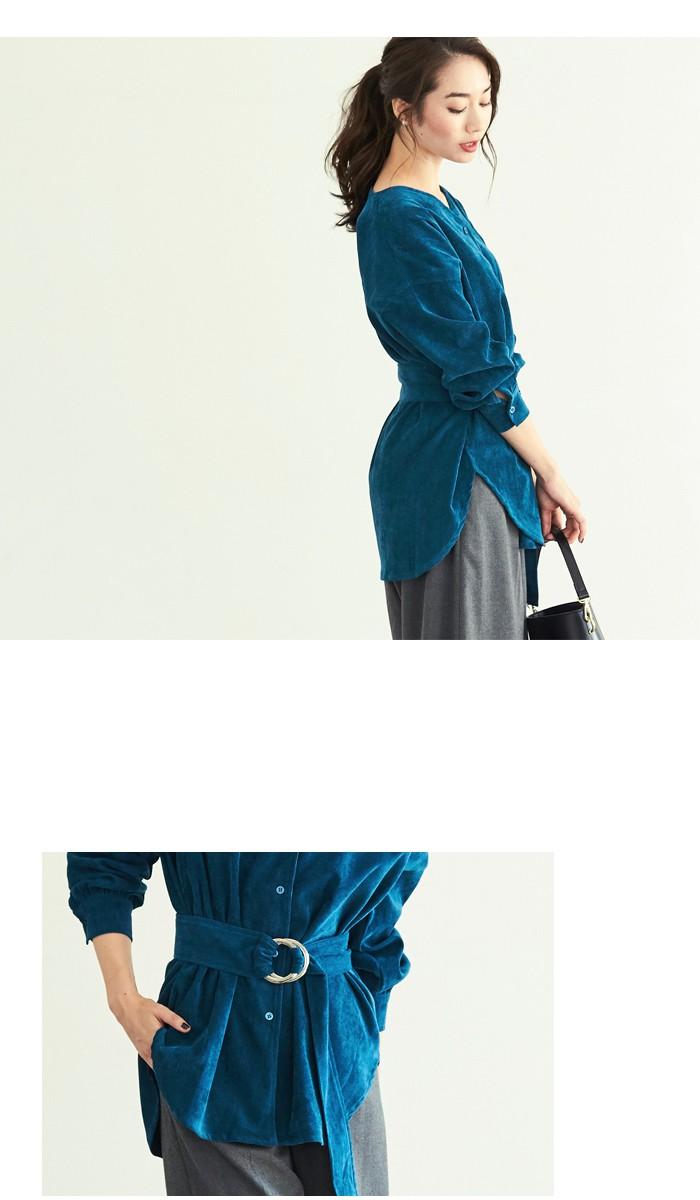 コーデュロイベルト付きVネックシャツ4