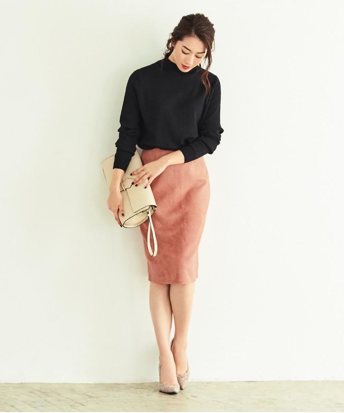 フェイクスウェードタイトスカート1