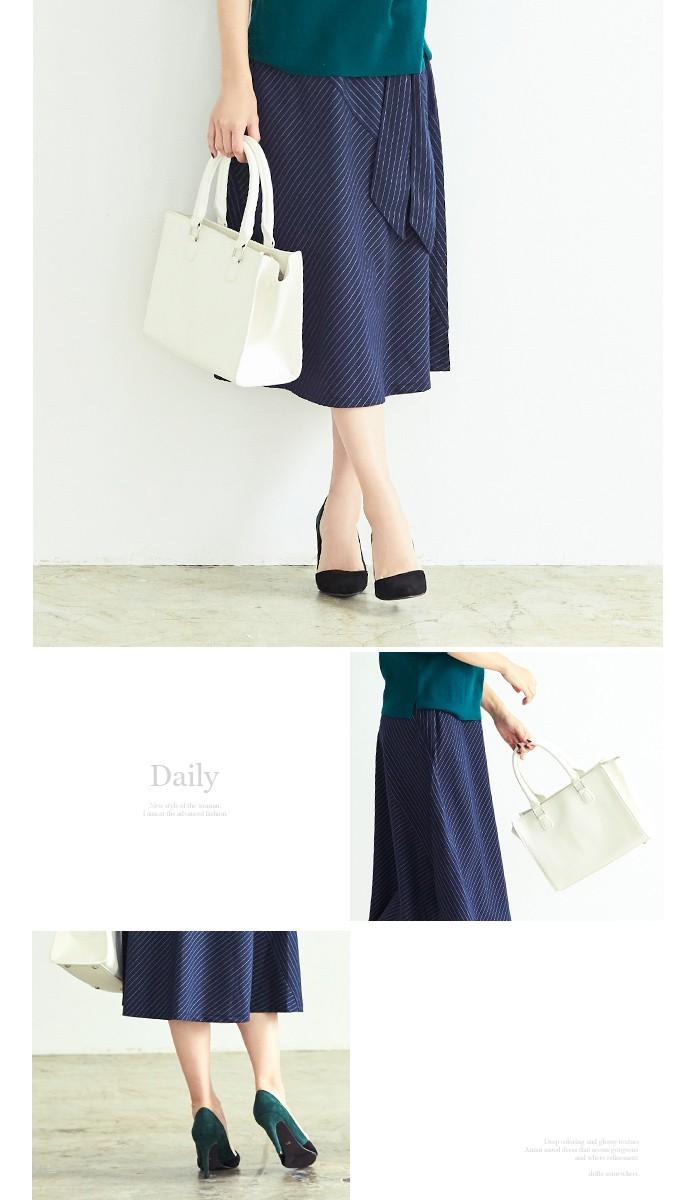 ピンストライプ切替スカート5