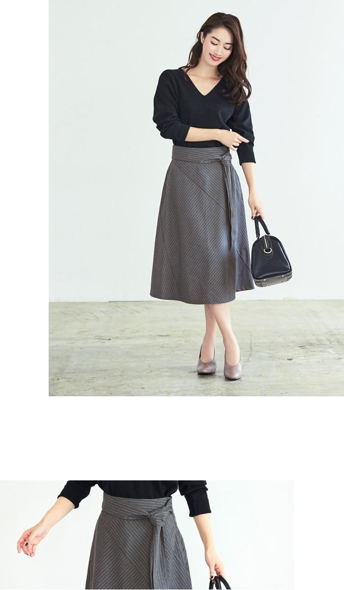 ピンストライプ切替スカート6
