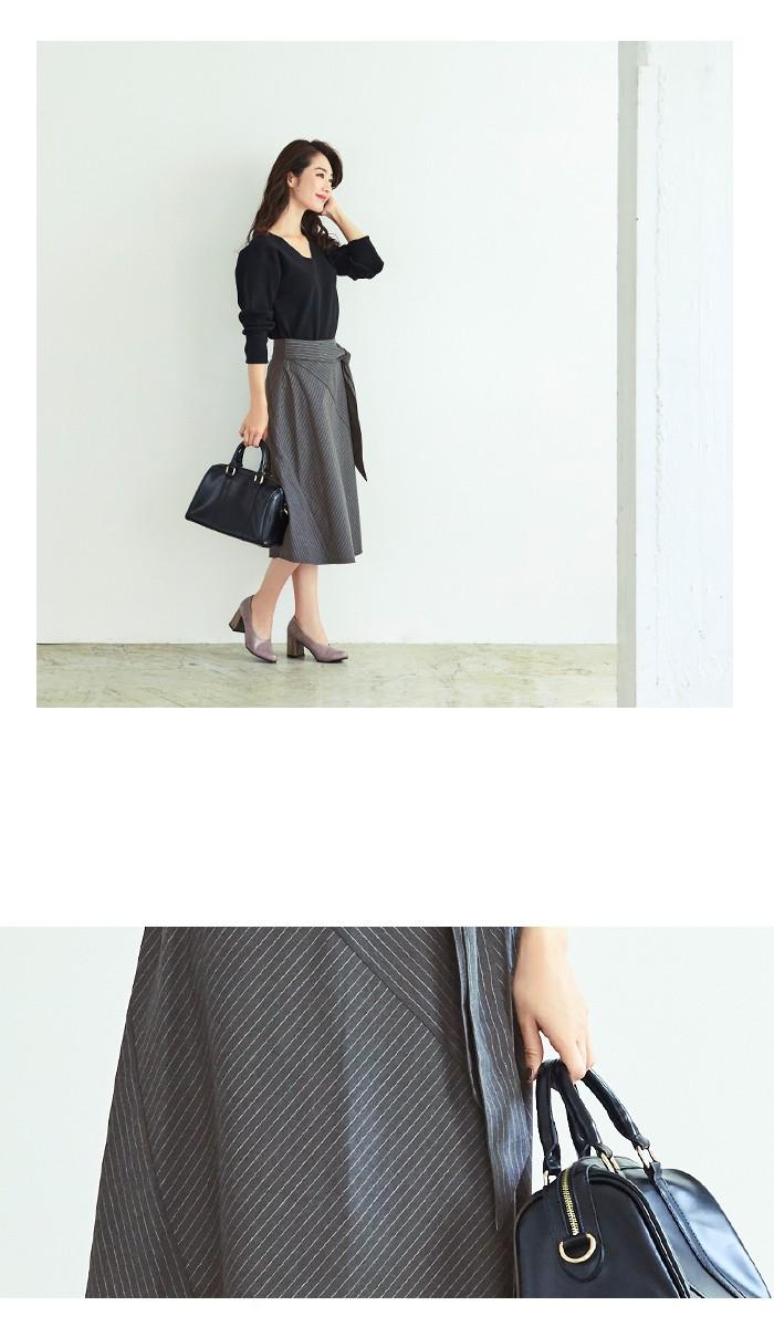 ピンストライプ切替スカート7