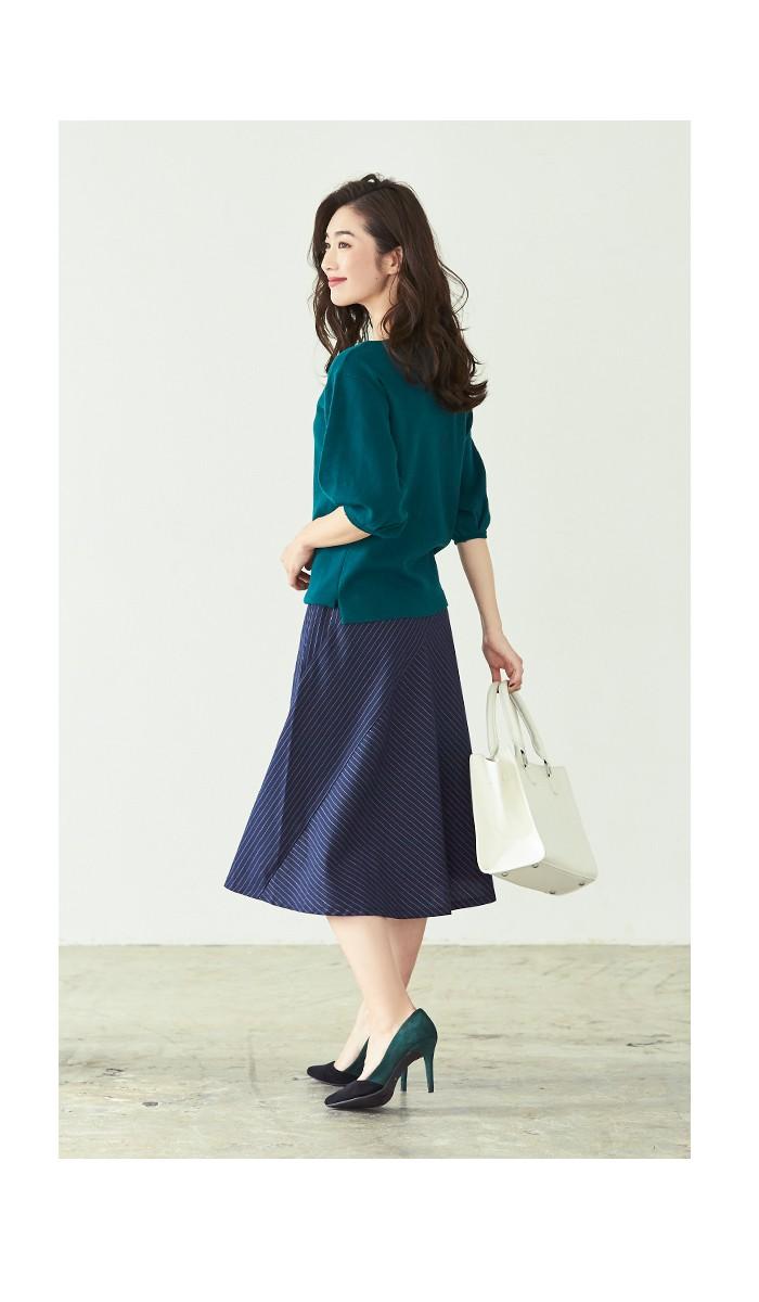 ピンストライプ切替スカート8