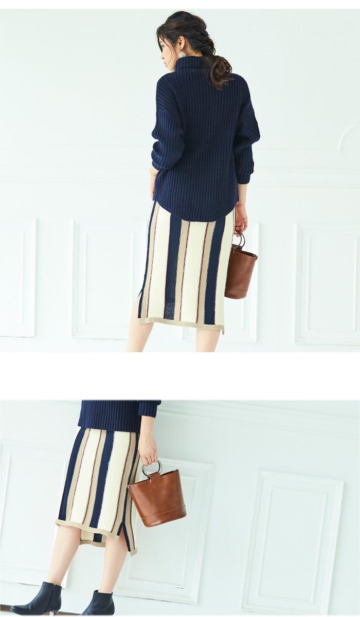マルチストライプタイトスカート5