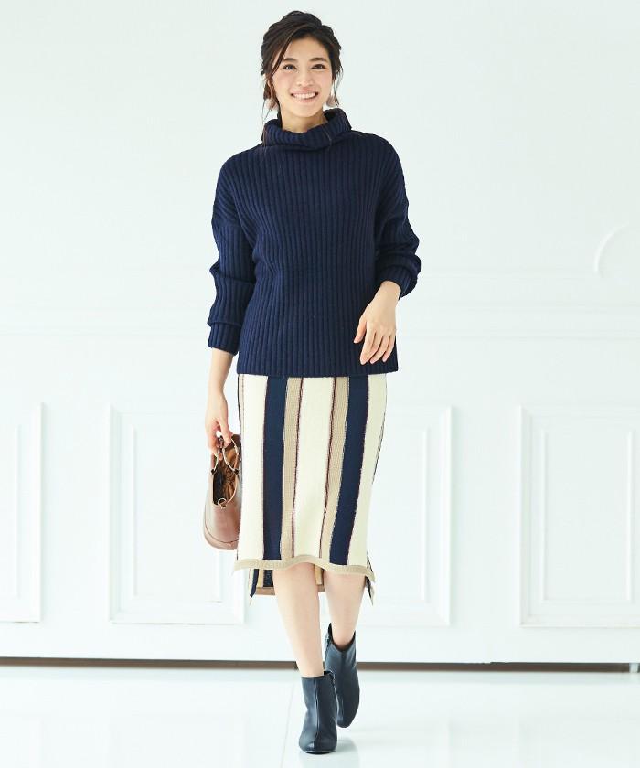 マルチストライプタイトスカート1