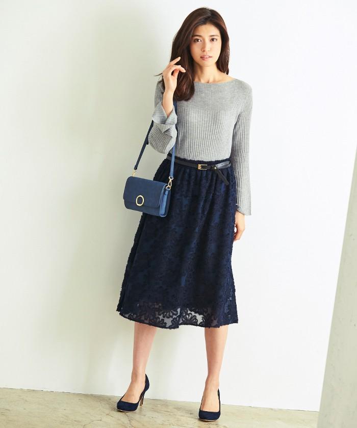 花柄ジャガードスカート1