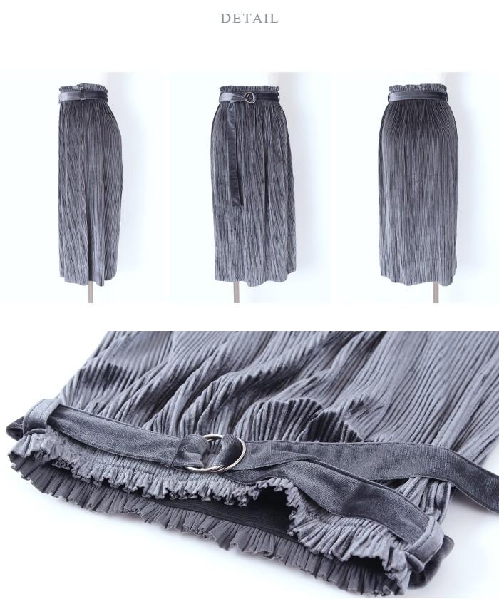 ベルト付きベロアプリーツスカート14