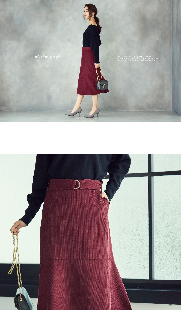 ベルト付裾フレアコーデュロイスカート2