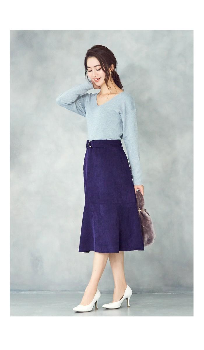 ベルト付裾フレアコーデュロイスカート3