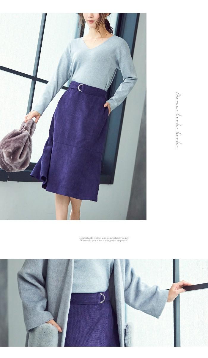 ベルト付裾フレアコーデュロイスカート4