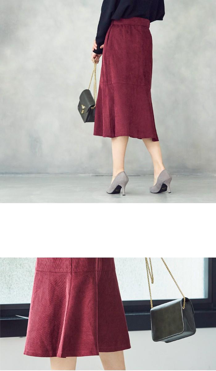 ベルト付裾フレアコーデュロイスカート7