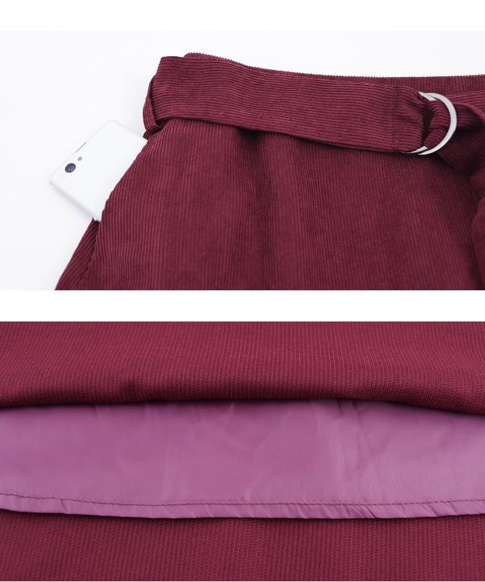 ベルト付裾フレアコーデュロイスカート15