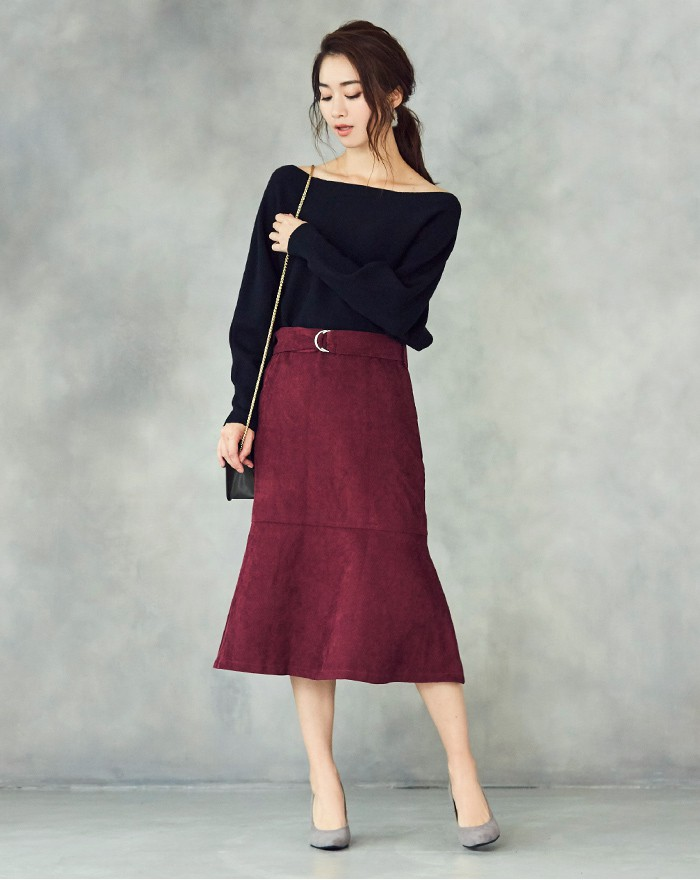 ベルト付裾フレアコーデュロイスカート1