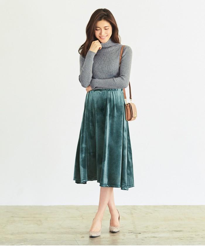 ベロアギャザースカート1