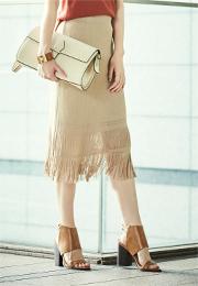 裾フリンジニットスカート